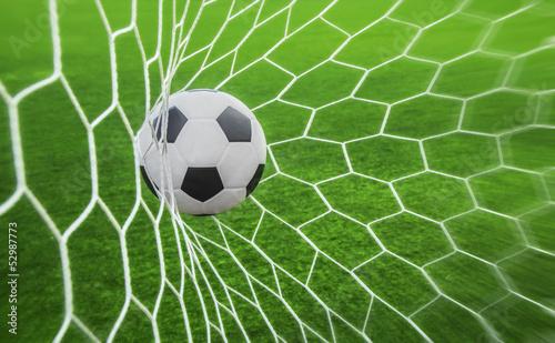 soccer ball in goal - 52987773