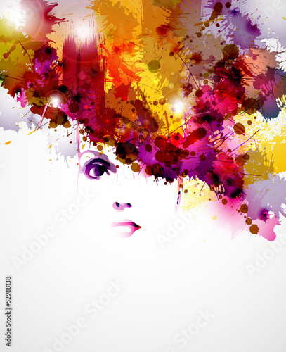 abstract design elements with women face