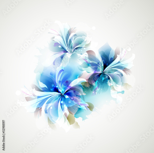 Photo Stands Floral woman Tender background with blue abstract flowers