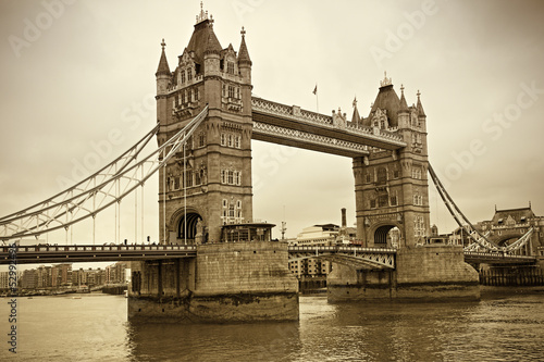 Vintage view of Tower Bridge, London. Sepia toned - 52992496