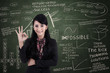Businesswoman approval gesture in class