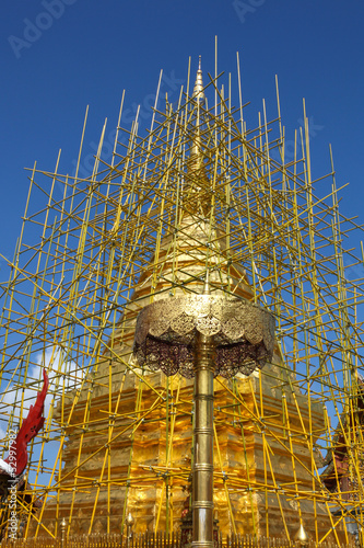 The repairing of one of most famous pagoda,Phra That Doi Suthep