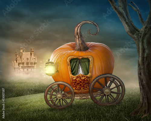 Pumpkin carriage Fotobehang