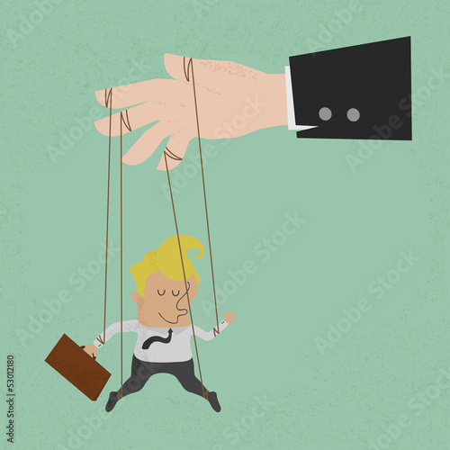 Fotografie, Obraz  Businessman marionette on ropes controlled, eps10 vector format