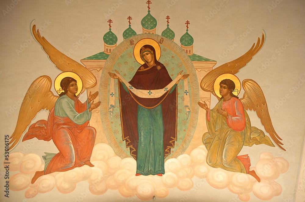 Fototapety, obrazy: painted silling at theTrinity Lavra of St Sergius