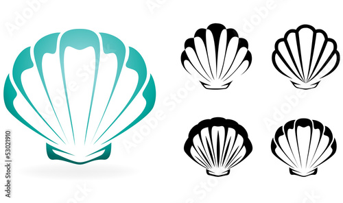 Carta da parati Shell collection - vector silhouette illustration