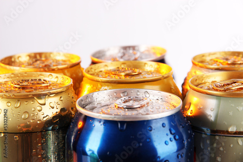Printed kitchen splashbacks Spices Metal tins isolated on white