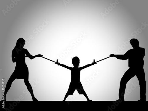 Fotografie, Obraz  Ilustração - Pais a lutar pelo filho