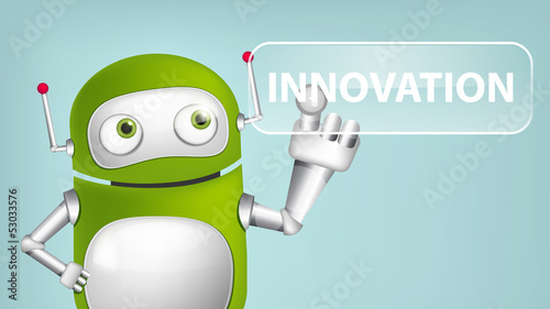 Deurstickers Robots Green Robot