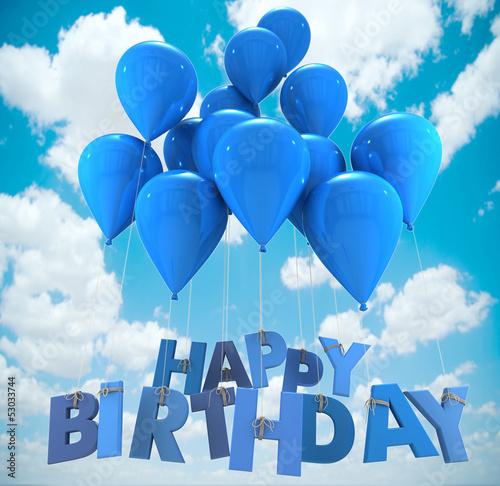 Happy birthday balloons, sky Wallpaper Mural