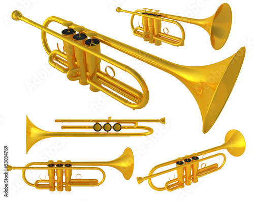 Photo  Isolated polished 3d brass trumpet. Includes pro clipping path