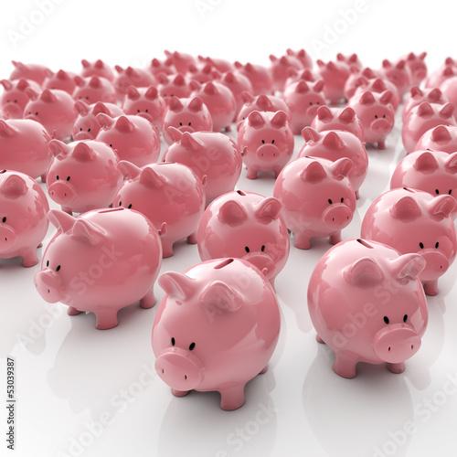 Fotografía  Sparschweine Gruppe - Geld sparen / 3D Illustration
