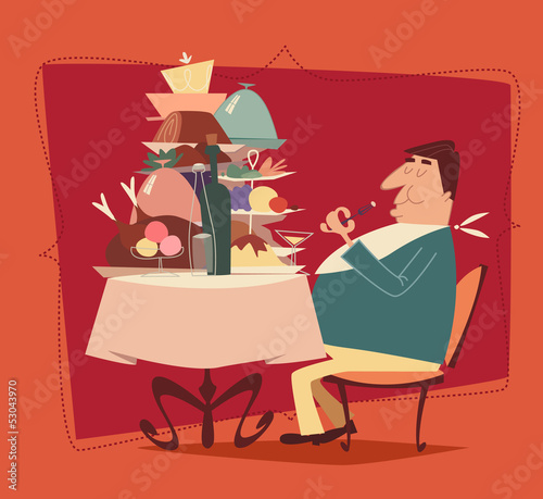 Fotomural Restaurant retro illustration