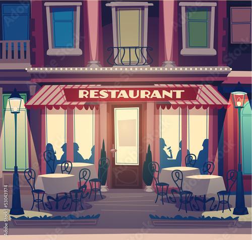Photo sur Toile Drawn Street cafe Restaurant retro illustration