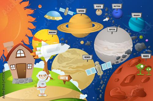 Fototapeta ilustracja astronauty i Układu Słonecznego