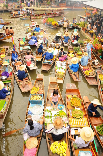 Floating market, Amphawa, Thailand Canvas Print