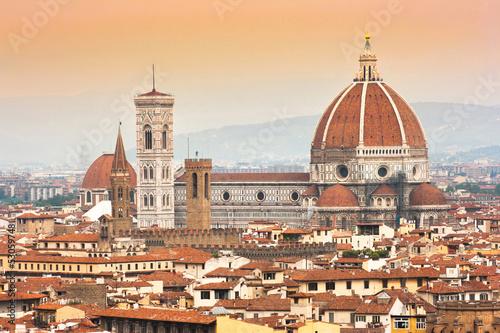Aluminium Prints Florence Cathedral Santa Maria Del Fiore at sunset, Florence, Italy
