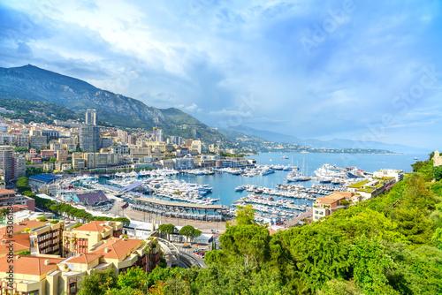 Foto-Flächenvorhang - Monaco Montecarlo principality aerial view. Azure coast. France (von stevanzz)