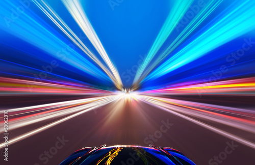 car on the road with motion blur background. Canvas Print