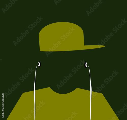 Fotografie, Obraz  youth wearing baseball cap and earphones