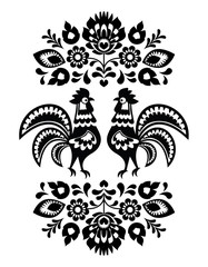 Polish ethnic floral embroidery with roosters in black and white