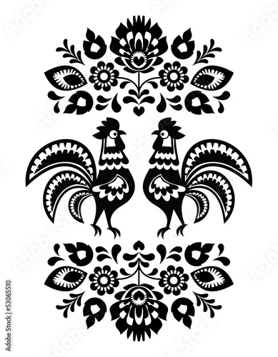 Naklejka na szybę Polish ethnic floral embroidery with roosters in black and white