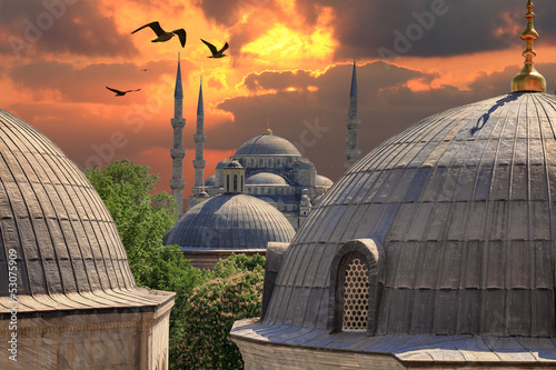 Fotografie, Obraz  Sundown in Istanbul. Blue Mosque in the distance