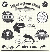 Vector Set: Retro Gone Fishing...