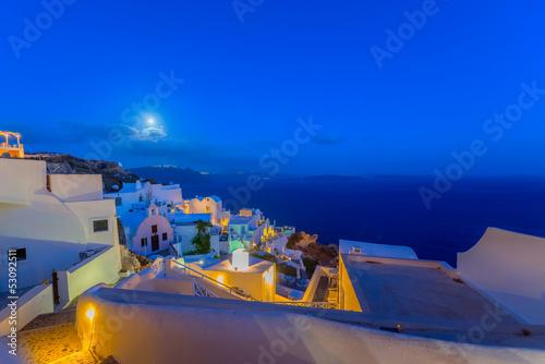 Fototapeta Greece Santorini island in Cyclades,  wide view of white washed obraz na płótnie