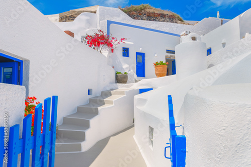 Fototapety, obrazy: Greece Santorini island in Cyclades, traditional view of white w