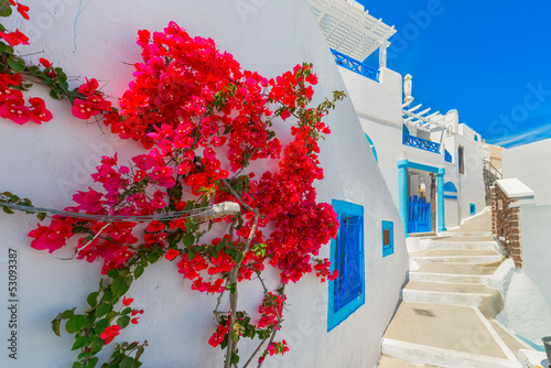 Keuken foto achterwand Santorini Greece Santorini island in Cyclades, traditional view of white w