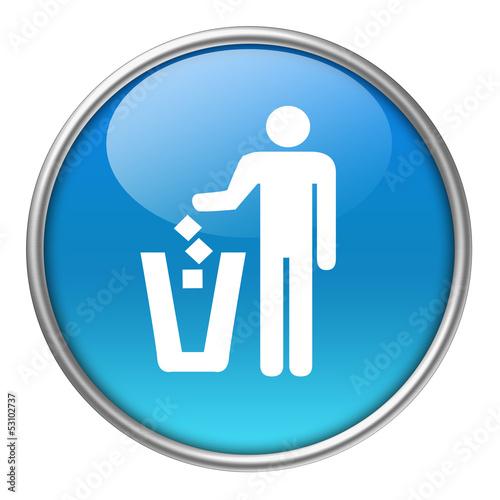 Fotografie, Obraz  Bottone vetro gettare rifiuti