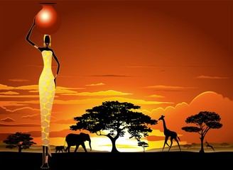 FototapetaAfrican Woman on Savannah Sunset-Donna Africata nel Tramonto