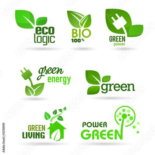Fotografie, Obraz  Bio - Ecology - Green icon set