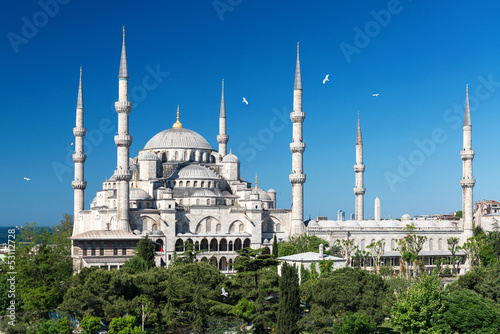 Photo  View of the Blue Mosque (Sultanahmet Camii) in Istanbul, Turkey