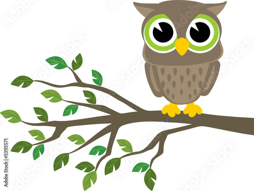 Deurstickers Uilen cartoon owl cartoon
