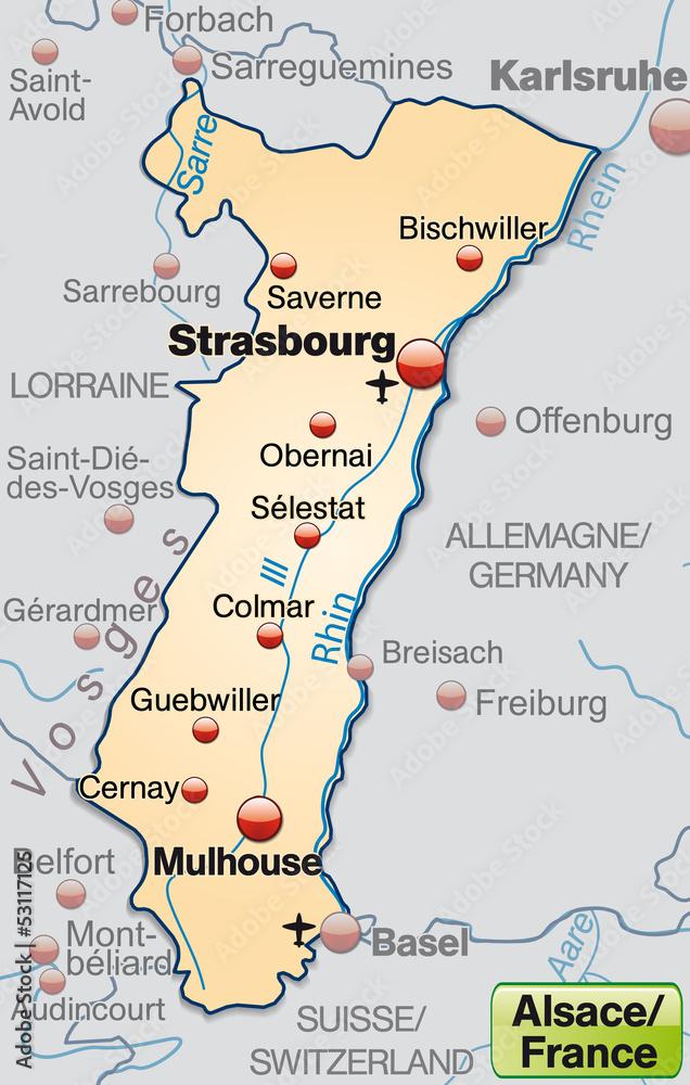 Elsass Karte Frankreich.Karte Der Region Elsass In Frankreich Foto Poster