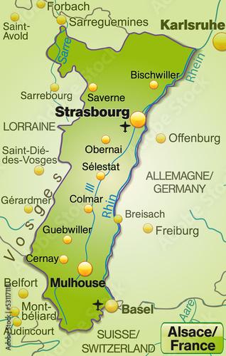 Elsass Karte Frankreich.Karte Der Region Elsass In Frankreich Buy This Stock