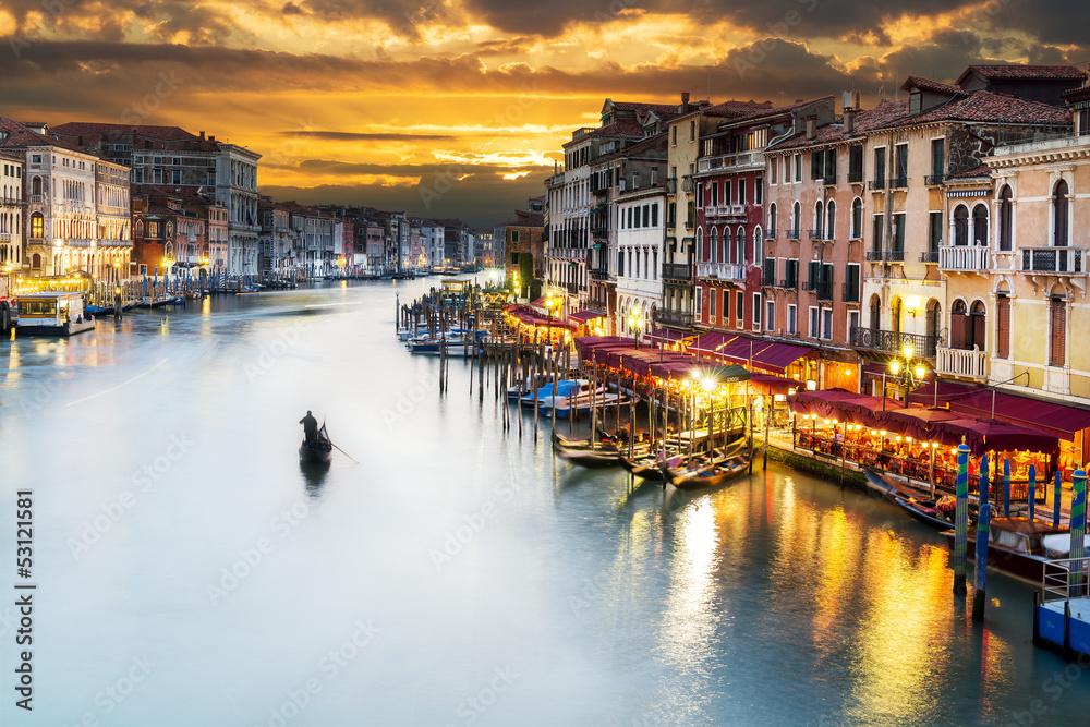 Fototapety, obrazy: Kanał Grande w nocy, Wenecja
