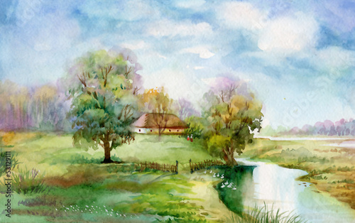 Staande foto Pistache Watercolor Landscape Collection: Village Life