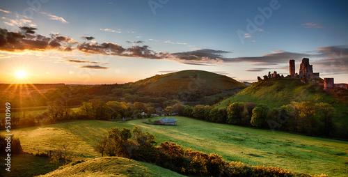 Corfe Castle sunrise panoramic Dorset England Poster Mural XXL