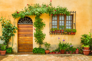 Panel Szklany Uliczki Beautiful porch decorated with flowers in italy