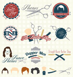 Vector Set: The Barbershop Labels and Icons