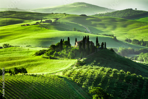 Fototapety, obrazy: Beautiful sunrise in San Quirico d'Orcia, Tuscany, Italy