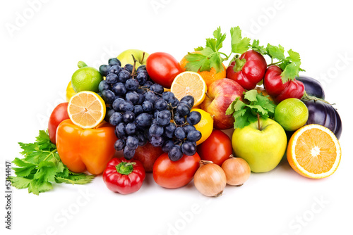 Tuinposter Keuken set of different fruits and vegetables on white background