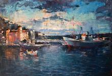 Sunset Over The Port On Black ...