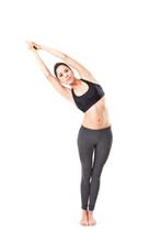 Woman Making A Yoga Pose: Half...