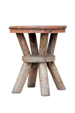 Old Wooden Stool Isolated On W...