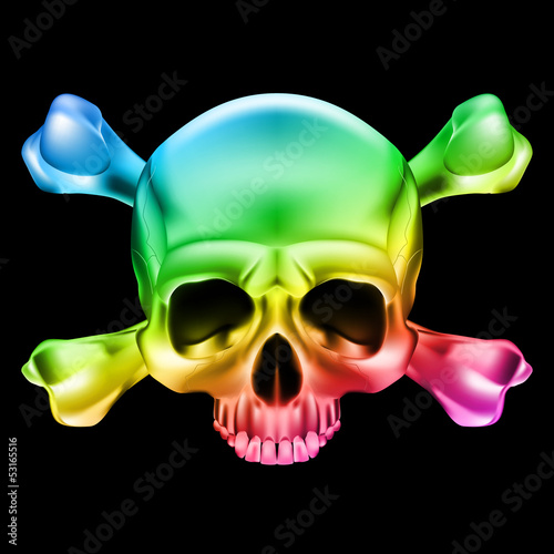 Papiers peints Crâne aquarelle Multi-colored skull