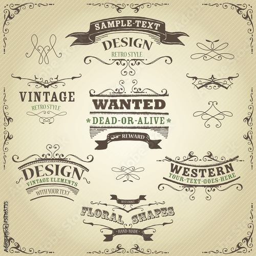 Hand Drawn Western Banners And Ribbons Poster